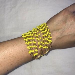 anthropologie yellow beaded bracelet